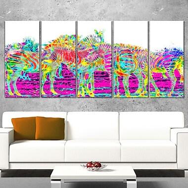 Art mural animal en métal, zèbres arc-en-ciel