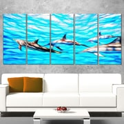 Family of Dolphins Ocean Metal Wall Art