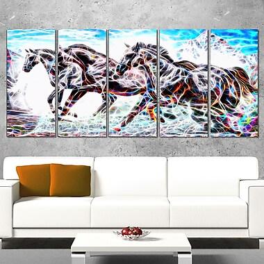 Art mural en métal, ruée de chevaux