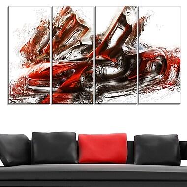 Art mural en métal, voitures de sport rouge brûlé