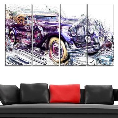 Art mural abstrait en métal, voiture de croisière antique