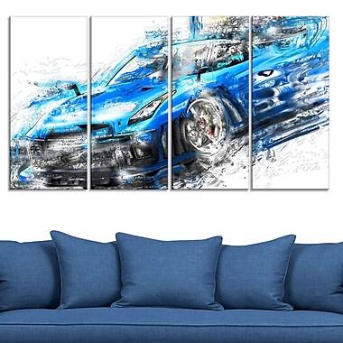 Burning Rubber Blue Super Car Metal Wall Art