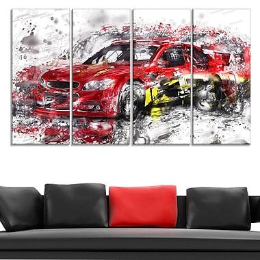 Art mural en métal, voiture rouge de rallye