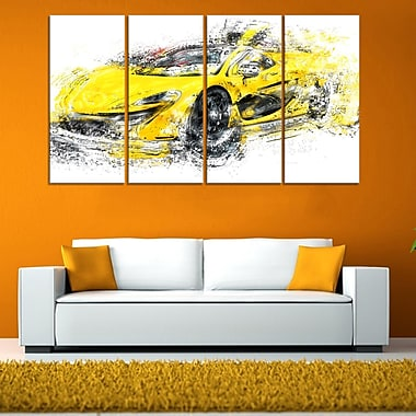 Art mural en métal, voiture exotique jaune