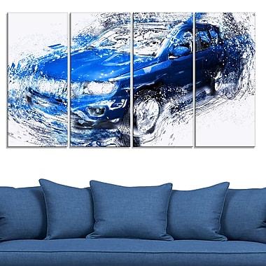 Blue Tuner Car Metal Wall Art