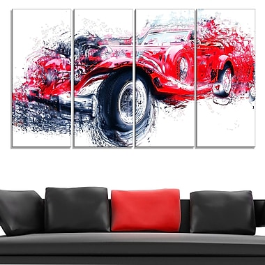Red Vintage Classic Car Metal Wall Art