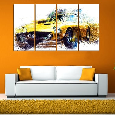 Yellow Classic Car Metal Wall Art