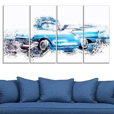 Art mural en métal, voiture antique bleu poudre