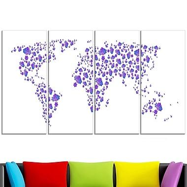 Art mural en métal, carte du monde lavande
