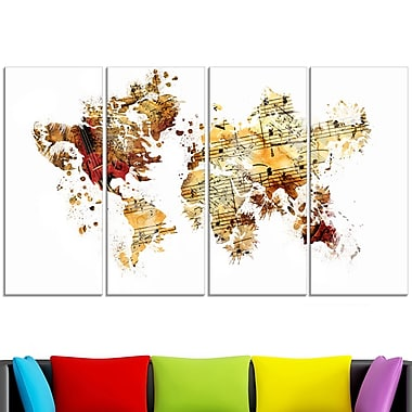 Brown and Beige Map Metal Wall Art