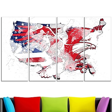 American Eagle Map Metal Wall Art
