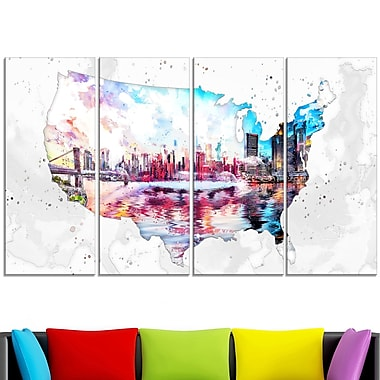 City Sunset on the Map' Metal Wall Art