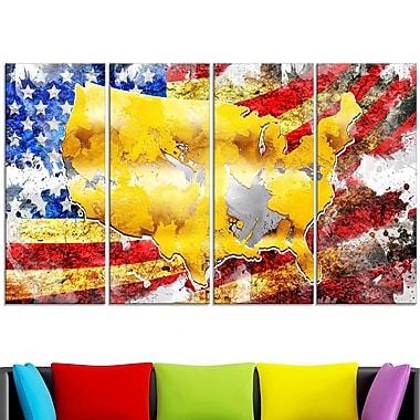 Art mural en métal, carte des États-Unis dur le drapeau