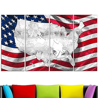 Map and Flag of America' Metal Wall Art
