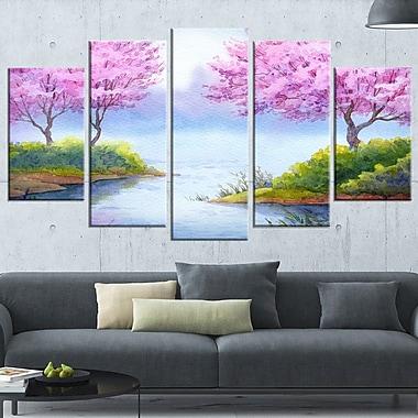 Flowering Trees Over Lake Landscape Metal Wall Art