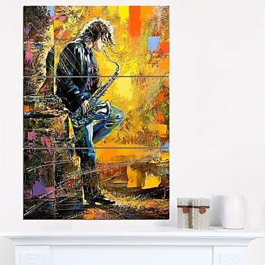 Art mural en métal style contemporain, homme jouant du saxophone