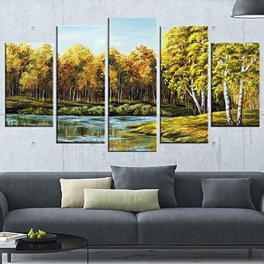 Art mural en métal, paysage, lac verdoyant en automne