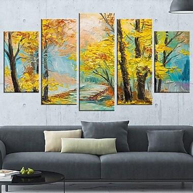 Art mural animal en métal, paysage de feuilles jaunes tombant dans une forêt automnale