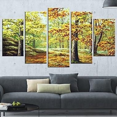 Art mural en métal, boisé l'automne, paysage
