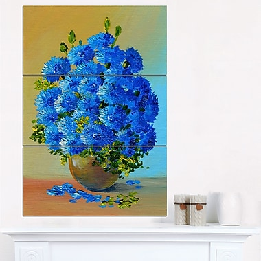 Art mural en métal à motif floral bouquet de fleurs bleu