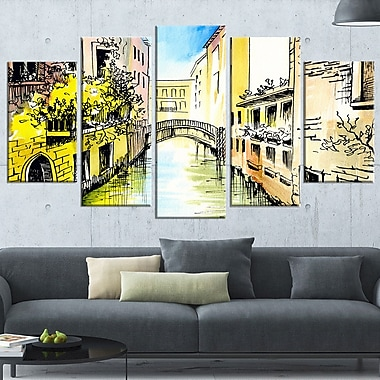 Canal in Venice Cityscape Metal Wall Art