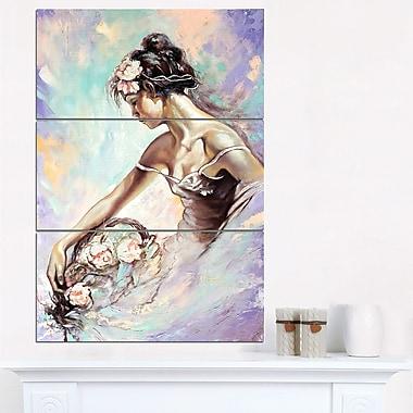 Art mural en métal, fille avec bouquet de fleurs