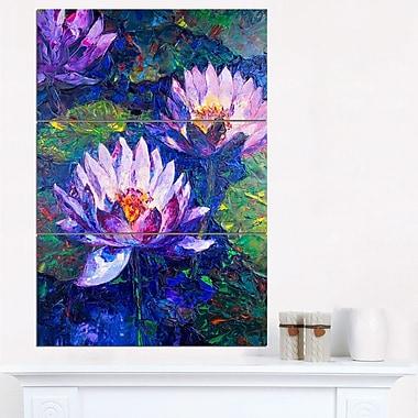 Blue Lotus Oil Painting Floral Metal Wall Art