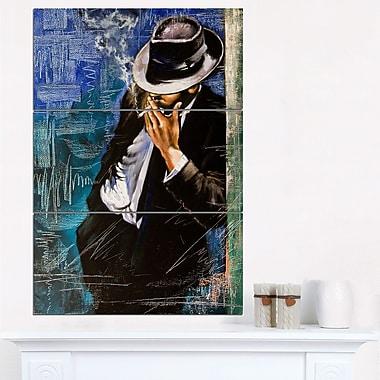 Man with Cigarette Portrait Metal Wall Art
