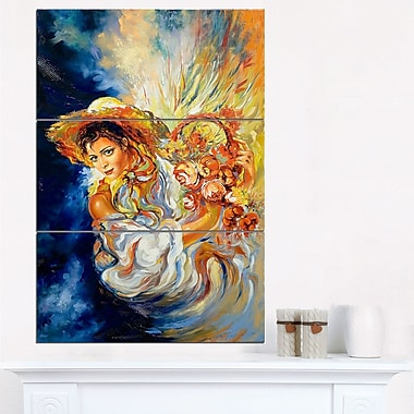 Art mural floral en métal, fille avec fleurs