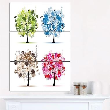Art mural en métal ensemble de motifs floraux d'arbres