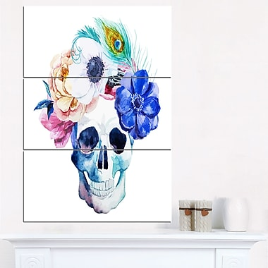 Anemones and Scull Floral Digital Metal Wall Art