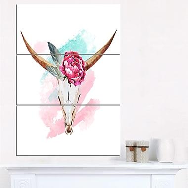 Bull Skull and Flower Floral Digital Metal Wall Art