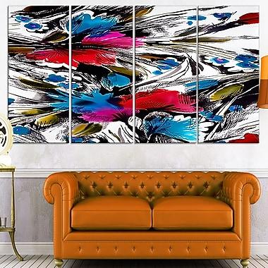Art mural abstrait en métal, fleurs et fusion de couleurs