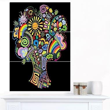 Art mural abstrait en métal, arbre abstrait coloré