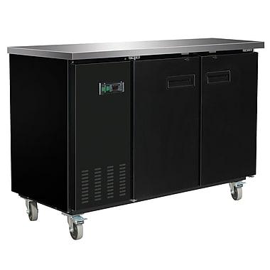 Maxximum – Arrière-bar réfrigéré avec dessus en acier inoxydable, 60 po, noir