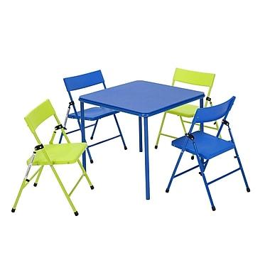 Cosco – Ensemble table et chaises pliantes pour enfants, 5 pièces, bleu/vert