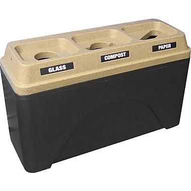 Techstar Plastics – Contenant de recyclage triple Bullseye, 58 gallons, base noire/dessus grès (595-BLACK/SANDSTONE)