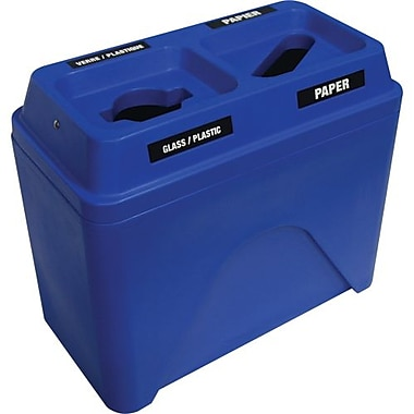 Techstar Plastics – Contenant de recyclage double Bullseye, 38,5 gallons, bleu (585-BLUE)