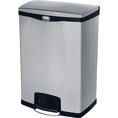 Rubbermaid Slim Jim® Waste Container, Step-on, Front, 24 Gallons