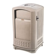 Rubbermaid Plaza® Container with Ashtray, 35 Gallon, Beige (FG9P9100BEIG)