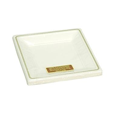 Eco Guardian – Assiettes carrées compostables à bordure imprimée, pour vente au détail
