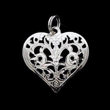 House of Jewellery – Breloque florale avec cœur en argent sterling à taille de diamant (C1269)