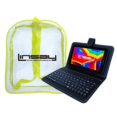 LINSAY Quad Core Tablet w/ Keyboard and Bag Pack Android, Assorted Sizes and Colors