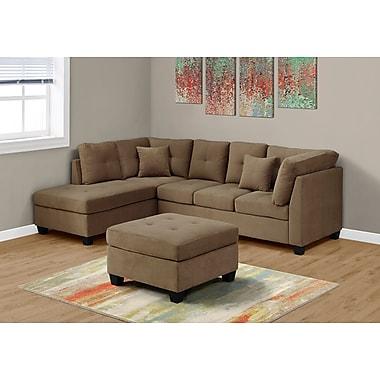 Monarch Specialties Sectional Ultra Soft Velvet Sofa(I 8375LB)