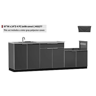 NewAge Products – Ensemble d'armoires de cuisine de 4 pièces pour l'extérieur avec housses, type A