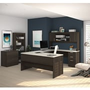 Bestar Ridgeley U-Shaped Desk with Lateral File & Bookcase