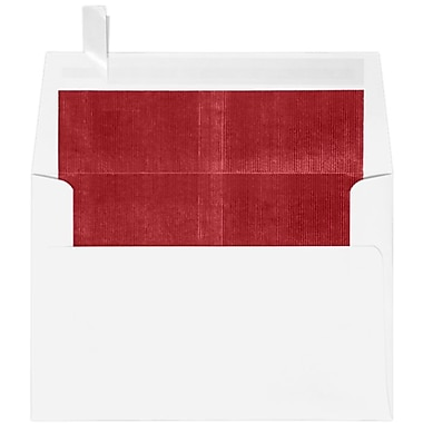 LUX A4 Foil Lined Invitation Envelopes (4 1/4 x 6 1/4), White w/Red LUX Lining