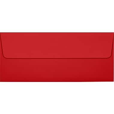 LUX Peel & Press #10 Square Flap Envelopes (4 1/8 x 9 1/2), Ruby Red
