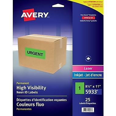 Avery High Visibility Full Sheet, 25 Pack