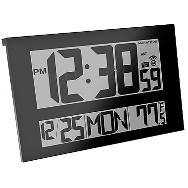 Marathon Jumbo Digital Commercial Grade Atomic Wall Clock, Black (CL030025BK)